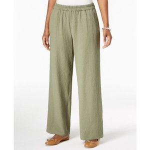 Jm Collection Green Textured Wide-Leg Pants